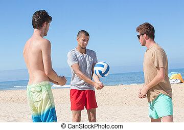 bal, mannen, jonge, salvo, strand, spelend