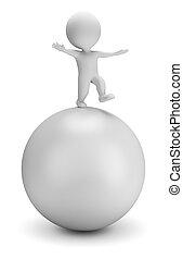 bal, mensen, -, evenwichten, kleine, 3d