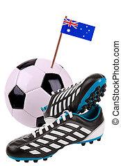 bal, nationale, voetbal, vlag, voetbal, of