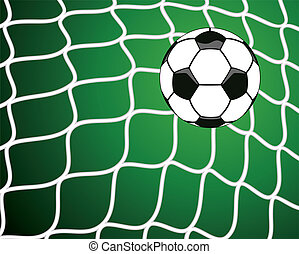 bal, net, symbool, doel, voetbal, vector