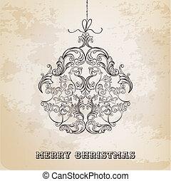 bal, ouderwetse , -, vector, sierlijk, gemaakt, communie, kerstmis kaart