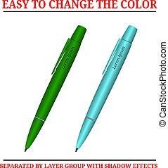 bal, pennen, punt, vrijstaand, twee, achtergrond, witte