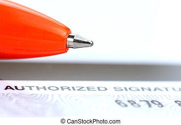 bal punt, pen, op, kredietkaart