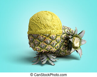 bal, render, kleur, moderne, ananas, ijs, ligt, fruit, concept, achtergrond, geroosterd, room, 3d