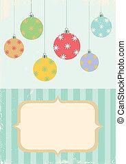 bal, retro, illustratie, kerstmis