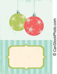 bal, retro, ilustração, natal