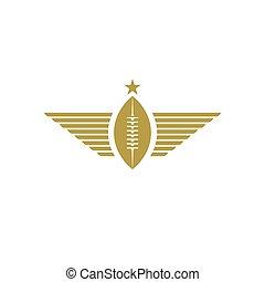bal, rugby, mockup, toernooi, voetbal, amerikaans pictogram, logo, sportende, vleugels