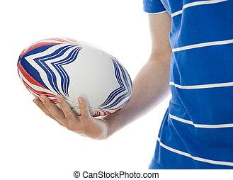 bal, rugby, vasthouden, man