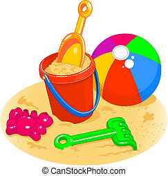 bal, schop, -, emmer, speelgoed, strand