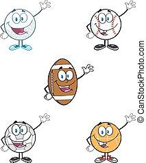 bal, set, waving., sportende, verzameling