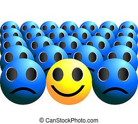 bal, smiley, stalletjes, menigte, uit