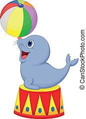bal, spelend, circus, spotprent, zeehondje