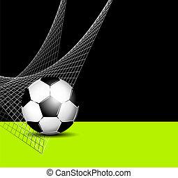 bal, -, sporten, flyer, net, voetbal