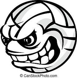 bal, spotprent, volleybal