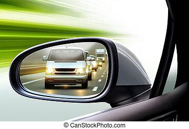 bal, tükör, lejtő, hátsó kilátás