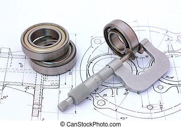 bal, tekening, het meten, micrometer, lager, technisch