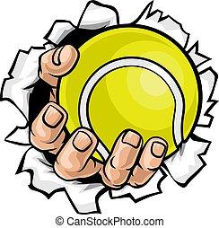 bal, tennis, tearing, achtergrond, hand