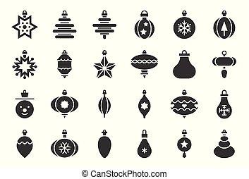 bal, vast lichaam, 1, vastgesteld ontwerp, versieringen, kerstmis, pictogram