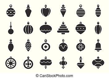 bal, vast lichaam, vastgesteld ontwerp, versieringen, 2, kerstmis, pictogram