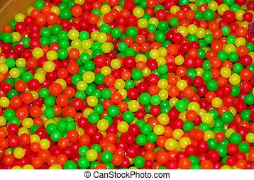 bal, versuikeren, geel groen, rood