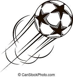 bal, vliegen, lucht, door, sterretjes, voetbal