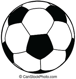 bal, voetbal, silhouette, isolatie