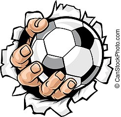 bal, voetbal, tearing, achtergrond, hand