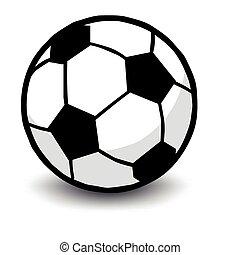 bal, voetbal, vrijstaand, witte