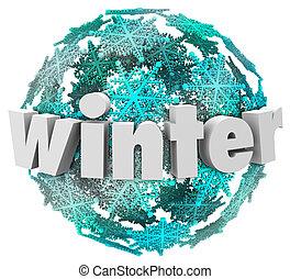 bal, woord, winter, seizoen, sneeuw, sneeuwvlok, veranderen