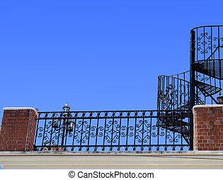 balaústre, escadas, ferro forjado