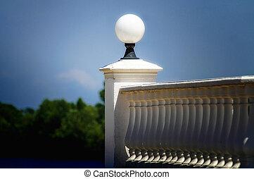 balaústre, lâmpada