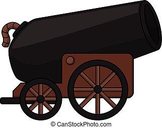 bala canhão, caricatura, ilustração