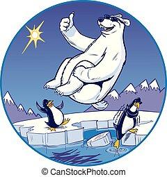 bala de cañón, oso, caricatura, zambullida, mientras, polar, reloj, pingüinos