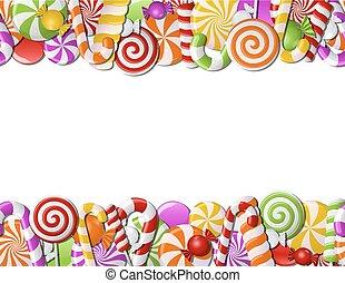 bala doce, quadro, feito, coloridos