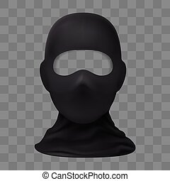 Balaclava Snowboarding or Mountain Skiing Protective Wear on Transparent Background. Symbol of Hacker, Terrorist, Robber or a Criminal Person. Also Equipment for Special Forces or Winter Sports
