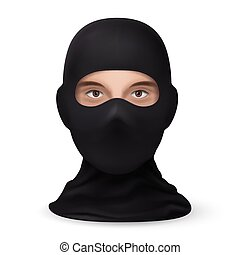 Mask on the Face Balaclava Snowboarding or Mountain Skiing Protective Wear on White Backdrop. Symbol of Hacker or a Criminal Person. Also Equipment for Special Forces or Winter Sports