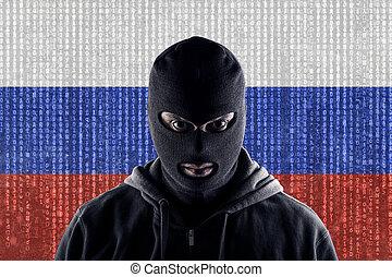 balaclava, pirata informático, computadora, ruso, enmascarado, negro