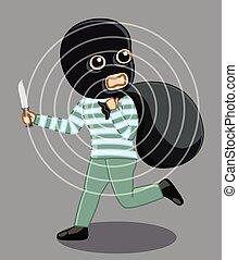 Balaclava Robber Running Vector