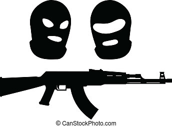 balaclavas and machine gun. vector illustration