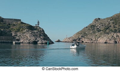 Balaklava Coast of Crimea. Black Sea from the speed boat on a sunny day