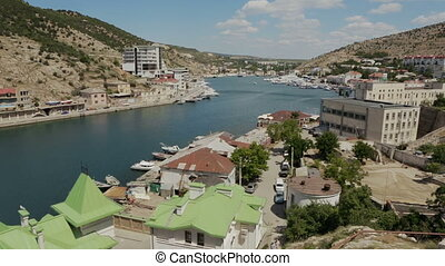 Balaklava is popular Crimean resort. Bay former submarine...
