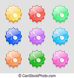 Balalaika icon sign. symbol on nine wavy colourful buttons. Vector