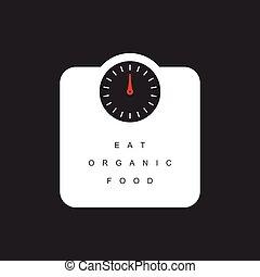 balanças pesando, alimento, ilustração, orgânica, mensagem, ...