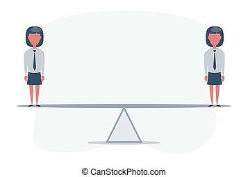 balanço, mulheres negócios, equilibrado, globe., sobre