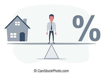 balanço, porcentagem, casa, equilíbrio, entre, modelo