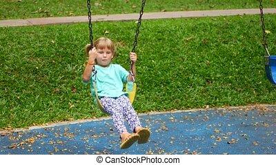 balançoire, équitation, parc, girl, enfant