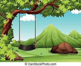 balançoire, arbre, scène, nature