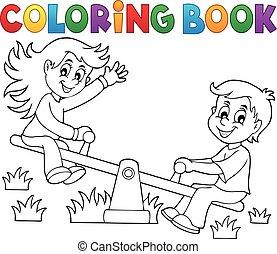 balancín, tema, colorido, niños, 1, libro