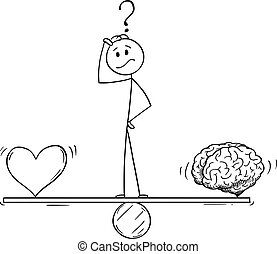 balancín, vector, cerebro, o, metáfora, pensamiento, el balancear, corazón, caricatura, lógica, hombre, emoción, hombre de negocios