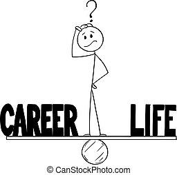 balancín, vector, o, hombre, pensamiento, tiempo que equilibra, caricatura, entre, vida, carrera, hombre de negocios